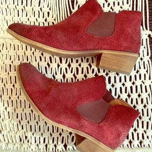 Suede Slip-on Bootie with wood Block Heel
